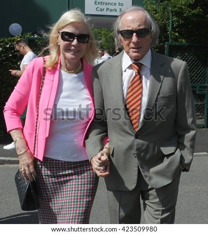 LONDON - JUN 29, 2015: Sir Jackie Stewart OBE and Helen Stewart seen at the Wimbledon Championships 2015 Day One on Jun 29, 2015 in London