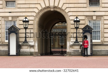 LONDON - JUNE 06: A Royal Guard at Buckingham Palace on June 6, 2009 in London, England.