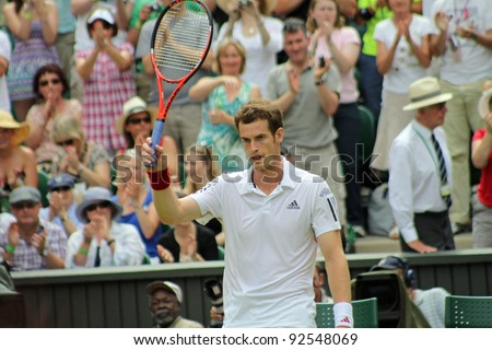 LONDON - JUNE 24: Andy Murray of Scotland celebrates win against Jarkko Nieminen of Finland in second round match at Wimbledon in London, England on June 24, 2010 - stock photo