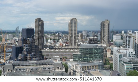 LONDON - JUNE 25, 2016: Apartment blocks in Barbican area in north of City of London