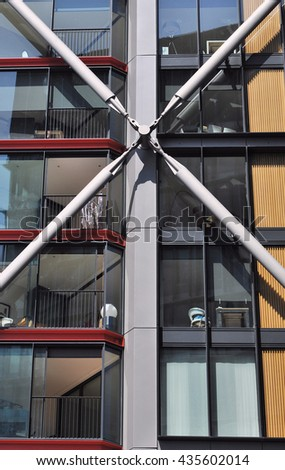 LONDON - JUNE 6, 2016. Architectural detail of apartments designed by Rogers Stirk Harbour + Partners, known as NEO Bankside, located near the Tate Modern art gallery in London, UK. - stock photo