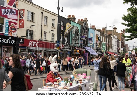 LONDON - JUNE 6, 2015: Camden Market and the streets around are a popular visitor attraction in London, - stock photo