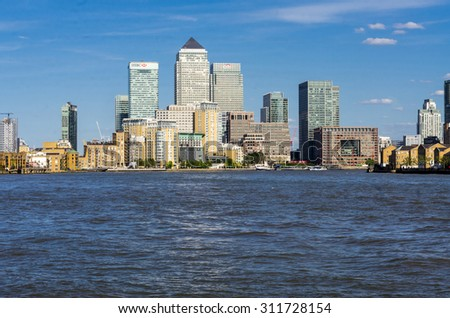London 07 June -  Canary Wharf - the business district in London. 2015 june 07