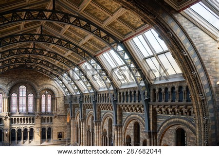 LONDON - JUNE 10 : Ceiling Detail of the Natural History Museum in London on June 10, 2015. - stock photo