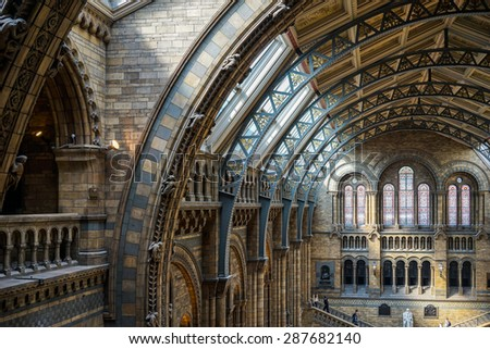 LONDON - JUNE 10 : Ceiling Detail of the Natural History Museum in London on June 10, 2015. Unidentified people - stock photo
