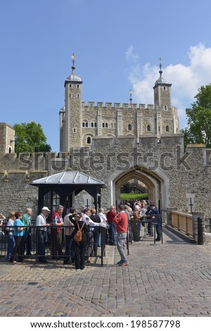 LONDON - JUNE 01, 2014: Entrance to the Tower of London, the Tower of London is a historic castle on the north bank of the River Thames in central London. - stock photo