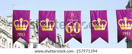 LONDON - JUNE 4: Flags of celebration of 60th Anniversary of Coronation of Britain's Queen Elizabeth II, on June 4, 2013 in London, UK. 