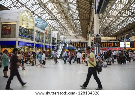 LONDON - JUNE 05: Inside view of Victoria Rail Station and London Underground complex, serving about 70 million passengers per year in City of Westminster in London in UK on June 05, 2010 - stock photo