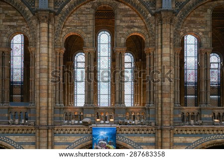 LONDON - JUNE 10 : Interior View of the Natural History Museum in London on June 10, 2015. - stock photo