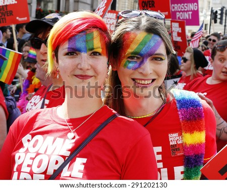 LONDON - JUNE 27: People take part in London's Gay Pride, 2015 Worldpride on June 27, 2015 in London, UK, estimated 25,000 people took part in the march, Parade to support gay rights.