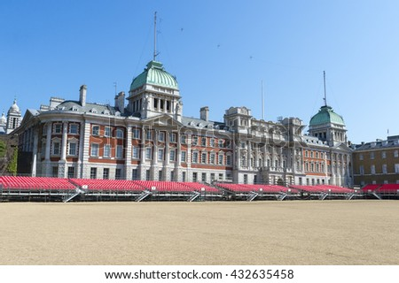 LONDON - JUNE 6, 2016: Seating lines the periphery of the Horse Guards Parade in preparation for the Queen's birthday celebrations.  - stock photo