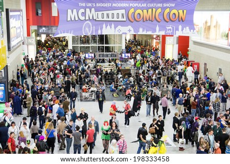 LONDON - June 25th: General view of atmosphere during Comic Con 2014 at Londons Excel  Center on June 25, 2013 in London. - stock photo