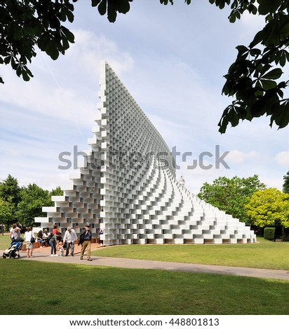 LONDON - JUNE 25, 2016. The Serpentine Gallery summer pavilion is designed by Danish architects BIG (Bjarke Ingels Group) with a structure of hollow fibreglass blocks in Kensington Gardens, London.