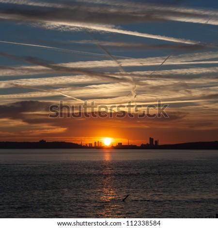 London landmarks uk sunsets - stock photo