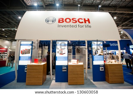 LONDON - MAR 6: Bosch stand during Ecobuild 2013 at Excel in London, UK on March 6, 2013. Ecobuild is the world's biggest event for sustainable design, construction and the built environment. - stock photo
