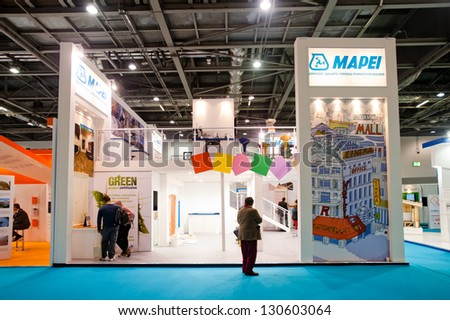 LONDON - MAR 6: Mapei stand during Ecobuild 2013 at Excel in London, UK on March 6, 2013. Ecobuild is the world's biggest event for sustainable design, construction and the built environment. - stock photo