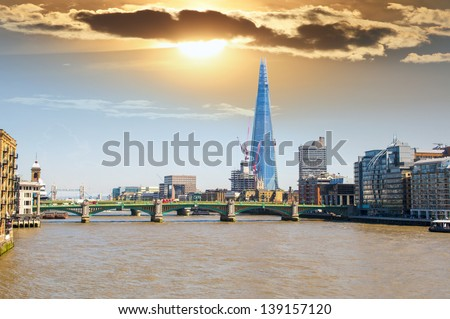 London, Mar 20: The Shard,skyscraper in London, 20 March 2013.The Shard also referred to as the Shard of Glass, is a 95-storey skyscraper in London. - stock photo