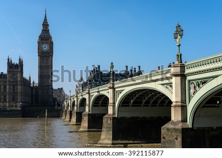 LONDON - MAR 13 : View of Big Ben and the Houses of Parliament in London on Mar 13, 2016. Unidentified people.