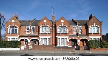 LONDON - MARCH 14, 2016. A terrace of old town houses located in the Fulham Palace Road in the Borough of Hammersmith & Fulham, west London, UK.