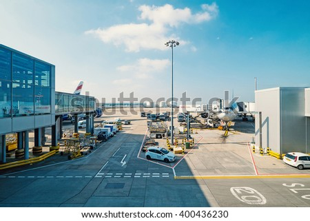 LONDON - MARCH 13, 2016: Airplanes operations in Heathrow Airport, the busiest airport in the United Kingdom and the busiest airport in Europe by passenger traffic.  - stock photo