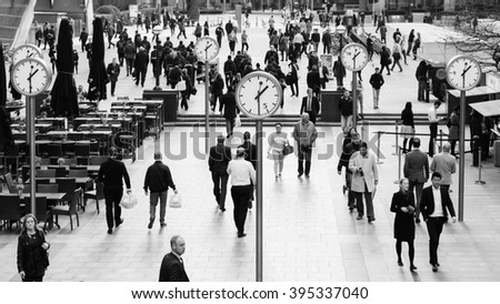 LONDON - March 22 2016. Canary Wharf is the London business zone & Financial District. Canary Wharf is a station on the Jubilee Line, between Canada Water and North Greenwich. - stock photo