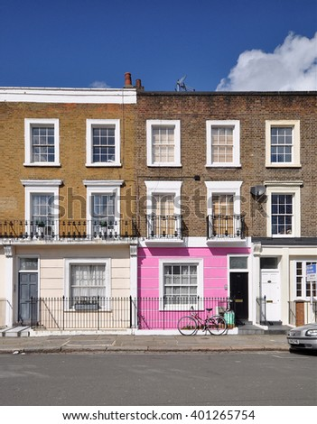 LONDON - MARCH 31, 2016. Eighteenth century Georgian period townhouses at Hartland Road, in the Borough of Camden, north west London, UK.