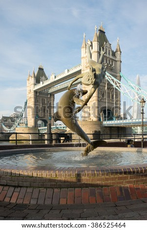 LONDON- March.5 : Sculpture titled Girl with a Dolphin by David Wynne 1973 . London, March 5, 2016 - stock photo