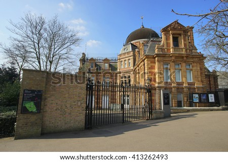 LONDON - MARCH 17 : The Royal Observatory, built in 1676, on a hill in Greenwich Park, worked in the history of astronomy and navigation, on March 17, 2016, London, UK.