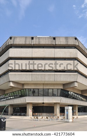 LONDON - MAY 7, 2016. A corner of The National Archives building which opened in 1977 containing historical information, maps and public records, located at Kew, Richmond, London, UK. - stock photo