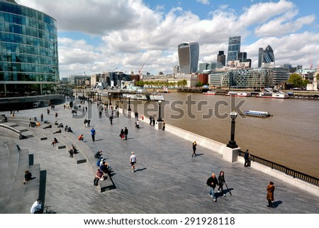 LONDON -  MAY 14 2015:Aerial view of Queen's South Bank Walk London.It's a sightseeing walk for tourists and visitors follows the River Thames Southbank path from Westminster Bridge to Tower Bridge.