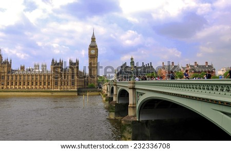 LONDON - MAY 15: Big Ben and Houses of Parliament, London, on May 15.2014 in UK - stock photo