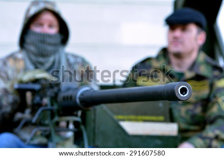 LONDON - MAY 14 2015:British soldiers dress as Militia during military show in London, UK.It's a fighting force that is composed of non-professional fighters that can be called upon to enter a combat. - stock photo