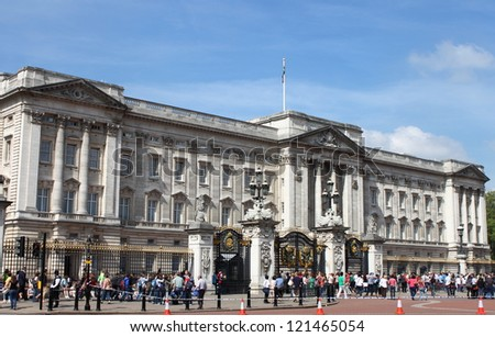 LONDON - MAY 21: Buckingham Palace facade on May 21, 2010 in London, UK. Located in the City of Westminster, the Palace is a setting for State occasions and Royal hospitality - stock photo