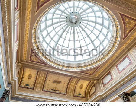 LONDON - MAY 24: Interior architecture of The National Gallery in London, England, was taken on May 24, 2016.