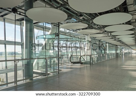 LONDON - MAY 21, 2015: Interior of Heathrow Airport, the busiest airport in the United Kingdom and the busiest airport in Europe by passenger traffic.  - stock photo