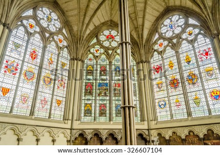 LONDON - MAY 28: Interior of the Westminster Abbey, May 28, 2015 in London. The Abbey has been the traditional place of coronation and burial site for English and, later, British monarchs - stock photo