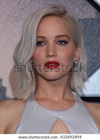 LONDON - MAY 9, 2016: Jennifer Lawrence attends the X-Men: Apocalypse - UK fan screening at the BFI IMAX on May 9, 2016 in London