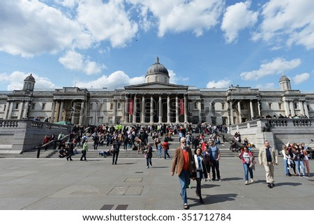 LONDON - MAY 30: People visit Trafalgar Square and the National Gallery on May 30, 2015 in London, UK. London is one of the world's most visited cities with 17 million international arrivals in 2013.