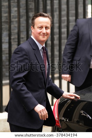 LONDON - MAY 8, 2015: Prime Minster David Cameron seen at 10 Downing Street on May 8, 2015 in London  - stock photo