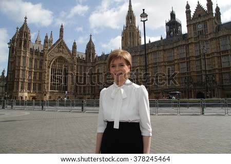 LONDON - MAY 10, 2015: SNP leader Nicola Sturgeon at The Andrew Marr Show at Westminster on May 10, 2015 in London
