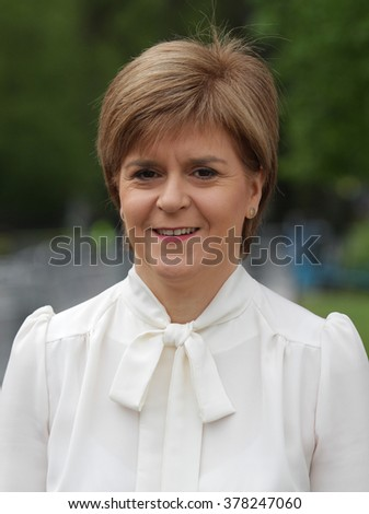 LONDON - MAY 10, 2015: SNP leader Nicola Sturgeon at The Andrew Marr Show at Westminster on May 10, 2015 in London - stock photo