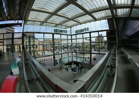 London - May 02, 2016: St Pancras International is the London Terminus for Eurostar trains. - stock photo