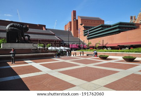 LONDON - MAY 3. The British Library holds 150 million books, manuscripts, philatic and cartographic items, music scores and recordings and on May 3, 2014 a Comics exhibition, located in London, UK.  - stock photo