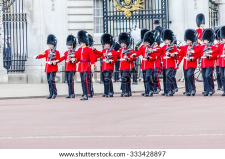 LONDON - MAY 30:  The guard ceremony at Buckingham Palace on May 30, 2015 in London, which is one of England's most popular visitor attractions.