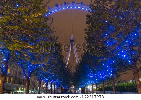 LONDON, MAY 7:The London Eye in London, England on May7, 2012. The London Eye is the tallest Ferris Wheel in Europe. - stock photo