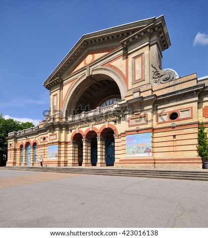 LONDON - MAY 15, 2016. The Palm Court entrance to Alexandra Palace, a historic entertainment, exhibition and events venue dating from 1873, informally known as Ally Pally, located in north London, UK.
