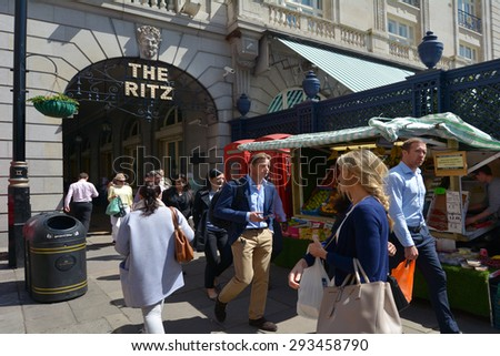 LONDON - MAY 14 2015:The Ritz Hotel, London.The hotel is one of the world's most prestigious and best known hotels.It is a member of the international consortium, The Leading Hotels of the World.