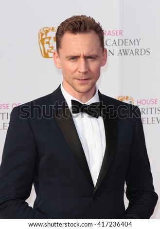 LONDON - MAY 8, 2016: Tom Hiddleston arrives for the House Of Fraser British Academy Television Awards at the Royal Festival Hall on May 8, 2016 in London - stock photo