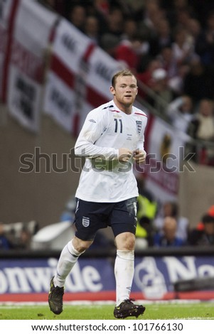LONDON - MAY 28:  Wayne Rooney of England in action during an international soccer friendly on May 28, 2008 in London, England. - stock photo