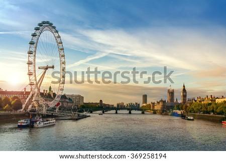 London morning sunrise. - stock photo